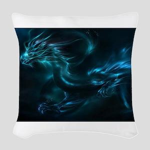 blue dragon Woven Throw Pillow