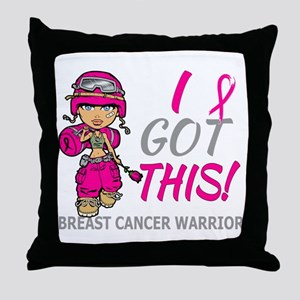Combat Girl 2 Breast Cancer HotPink Throw Pillow