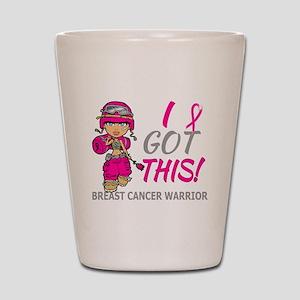 Combat Girl 2 Breast Cancer HotPink Shot Glass