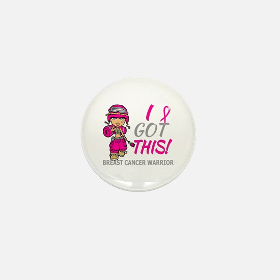 Combat Girl 2 Breast Cancer HotPink Mini Button