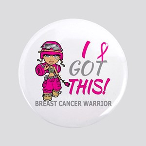 """Combat Girl 2 Breast Cancer HotPink 3.5"""" Button"""