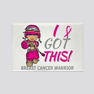 Combat Girl 2 Breast Cancer HotPi Rectangle Magnet