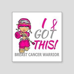 "Combat Girl 2 Breast Cancer Square Sticker 3"" x 3"""