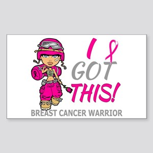 Combat Girl 2 Breast Cancer Ho Sticker (Rectangle)