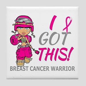 Combat Girl 2 Breast Cancer HotPink Tile Coaster