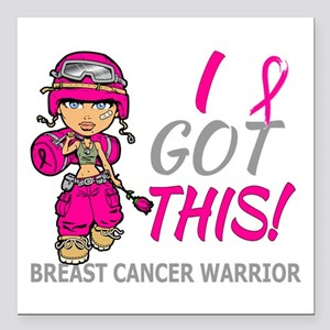 """Combat Girl 2 Breast Can Square Car Magnet 3"""" x 3"""""""