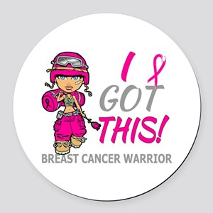 Combat Girl 2 Breast Cancer HotPi Round Car Magnet