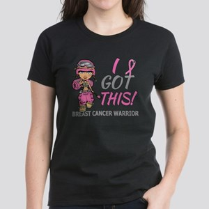 Combat Girl 2 Breast Cancer P Women's Dark T-Shirt