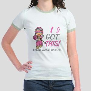 Combat Girl 2 Breast Cancer Pin Jr. Ringer T-Shirt
