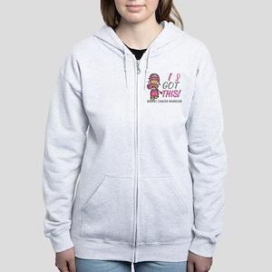 Combat Girl 2 Breast Cancer Pin Women's Zip Hoodie