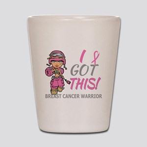 Combat Girl 2 Breast Cancer Pink Shot Glass