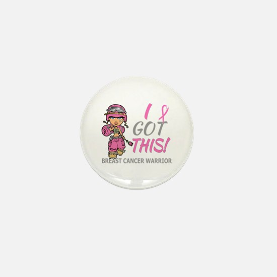 Combat Girl 2 Breast Cancer Pink Mini Button