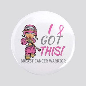 """Combat Girl 2 Breast Cancer Pink 3.5"""" Button"""