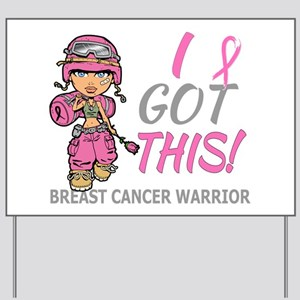 Combat Girl 2 Breast Cancer Pink Yard Sign