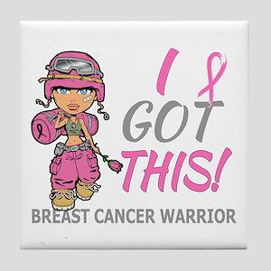 Combat Girl 2 Breast Cancer Pink Tile Coaster
