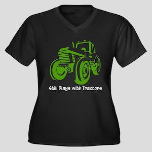 Green Tractor Women's Plus Size V-Neck Dark T-Shir