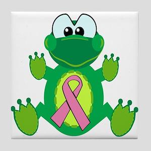 Pink Awareness Ribbon Frog Tile Coaster
