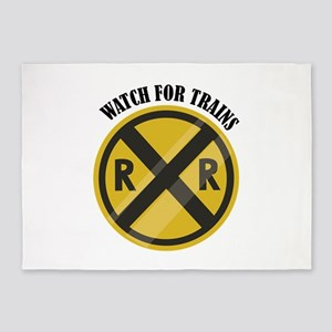 Watch For Trains 5'x7'Area Rug