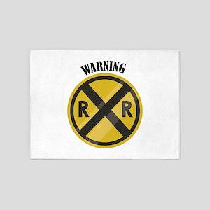 Warning 5'x7'Area Rug