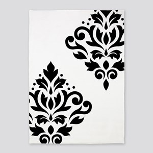 Scroll Damask Art I Black On White 5'x7'area Rug