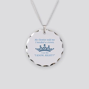I Needed A Crown Necklace Circle Charm
