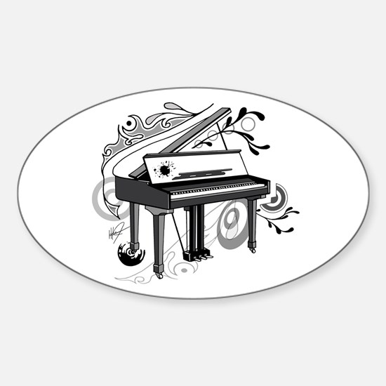 abstract piano Oval Decal
