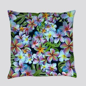 Rainbow Plumeria Dark Everyday Pillow
