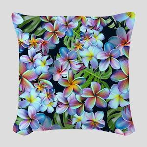 Rainbow Plumeria Dark Woven Throw Pillow