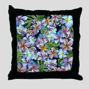 Rainbow Plumeria Dark Throw Pillow