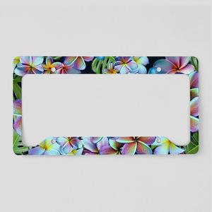 Rainbow Plumeria Dark License Plate Holder