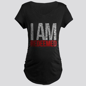 I Am Redeemed - Black/Red Maternity T-Shirt