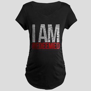 I Am Redeemed - Black/Red Maternity T-Shirt