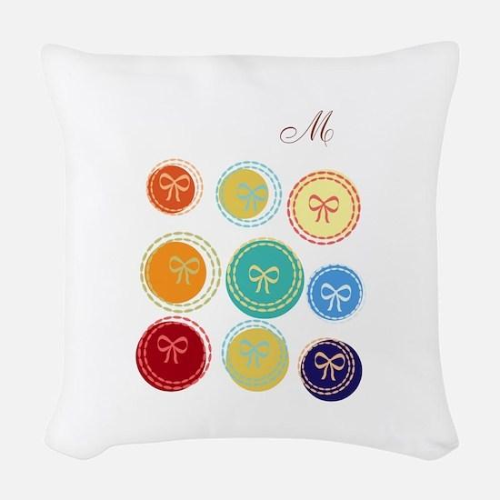 Bright Polka Dots Monogram Woven Throw Pillow