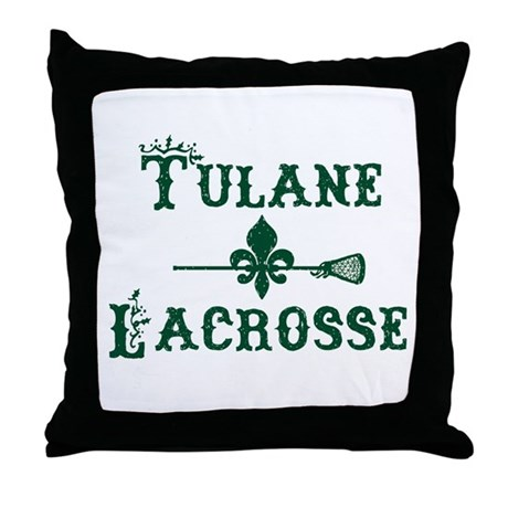 Tulane Lacrosse Vintage Logo Throw Pillow