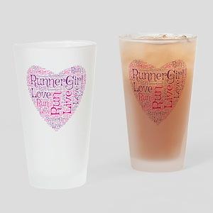 RunnerGirl Heart Drinking Glass
