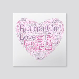 "Runnergirl Heart Square Sticker 3"" X 3"""