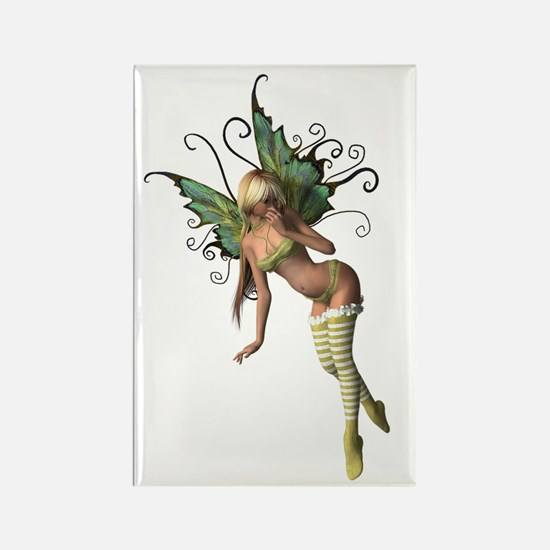 Green Wing Fairy Rectangle Magnet