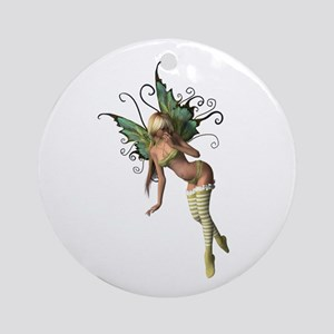 Green Wing Fairy Ornament (Round)
