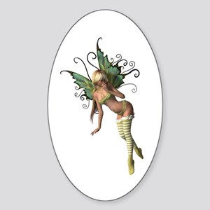 Green Wing Fairy Oval Sticker