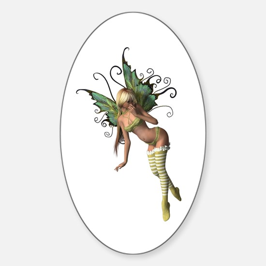 Green Wing Fairy Oval Decal