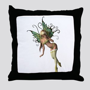 Green Wing Fairy Throw Pillow