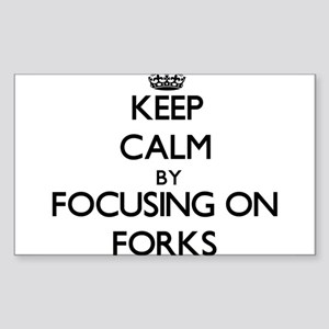 Keep Calm by focusing on Forks Sticker