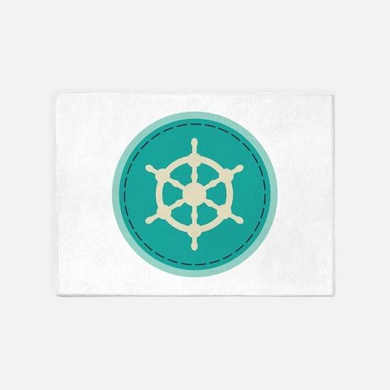 Boat Wheel 5'x7'Area Rug