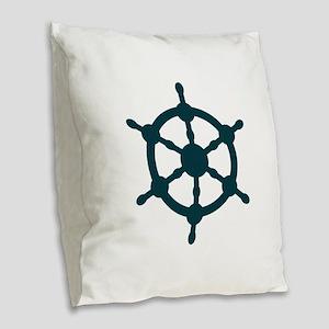 Ship Wheel Burlap Throw Pillow