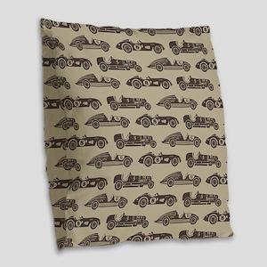 Vintage Race Car Burlap Throw Pillow