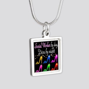 SOCIAL WORKER DIVA Silver Square Necklace