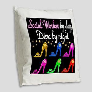SOCIAL WORKER DIVA Burlap Throw Pillow