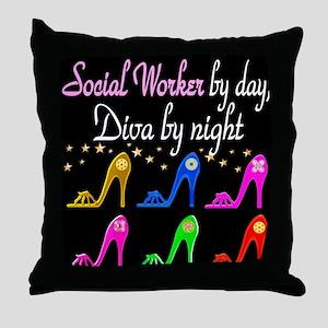 SOCIAL WORKER DIVA Throw Pillow