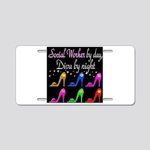 SOCIAL WORKER DIVA Aluminum License Plate