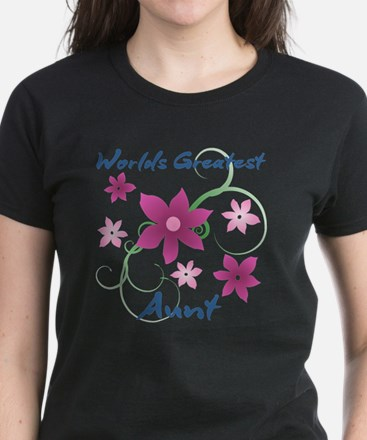 World's Greatest Aunt (Flowery) T-Shirt